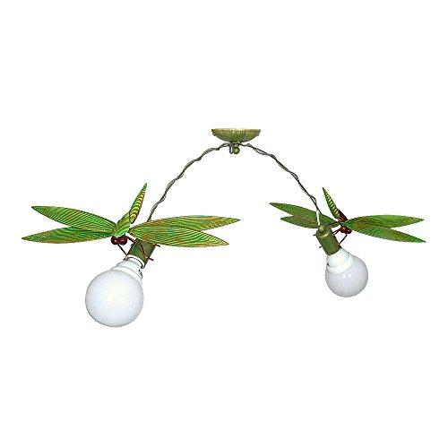 Verspielte Deckenleuchte in Grün Weiß Floral 2x E27 bis zu 60 Watt 230V aus Metall, für Küche Esszimmer Lampen Leuchte Beleuchtung Floral Aus Metall
