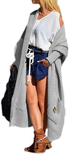 Damen Strickjacke Pullover Cardigan Langarm Oversize NEU 36 38 40 S M L (658) (Grau)