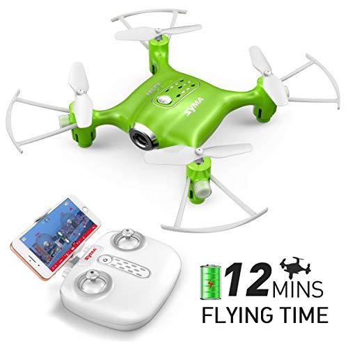 Mini Micro Drone Piccolo con Telecamera FPV Syma X21W Telecomandato Quadricottero Droni per Bambini con 2.4Ghz Gyro a 6 Assi, modalità Senza Testa, Rotazione 360(Verde)