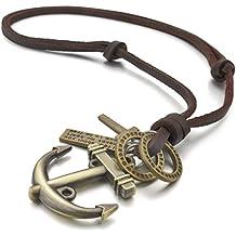 MunkiMix Aleación Genuina Cuero Colgante Collar Oro Dorado Tono Cruzar Cruz Ancla Náutico Ajustable 16~26 Pulgada Cadena Hombre ,Cadena