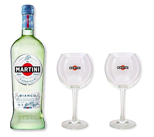 Martini Bianco 14,4% 0,75l - Set mit 2 original Martini Gläser (Elegante Martini-gläser)