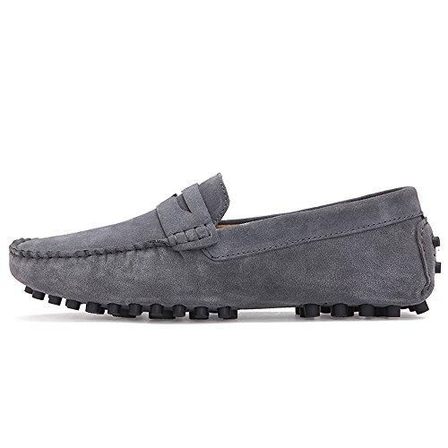 Herren Grau Leder Mode Faulenzer Casual Casual Herren Schuhe Leder Mode S7Srqg