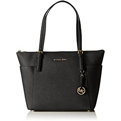 Michael Kors Jet Set Large Top-Zip Saffiano Leather Tote 30F4GTTT9L-001 Damen Schultertaschen 42x29x12 cm (B x H x T), Schwarz (Black 001)