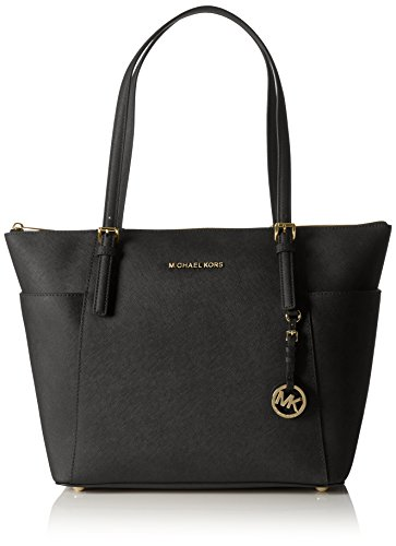 Michael Kors Damen Jet Set Large Top-Zip Saffiano Leather Tote Schultertaschen, Schwarz (Black 001), 42x29x12 cm