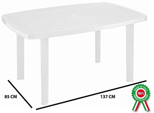 Tavolo tavolino rettangolare in resina di plastica bianco faro per ...