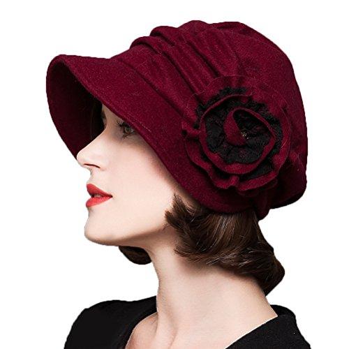 Maitose&Trade; Frauen dekorative Blumen Wool Beret Red