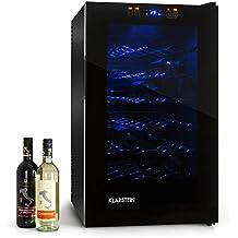 Klarstein HEA-MKS-2 cantinetta vino minibar a 6 ripiani e sportello opaco-trasparente (70 litri, 28 bottiglie, (Elettronico Digitale Scala In Vetro)