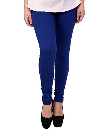 M.G.R Women\'s Cotton Lycra Churidar Leggings - Blue ( Free Size )
