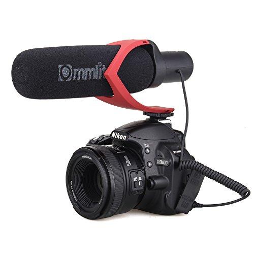 Triple-kondensator (EACHSHOT CoMica Electrit Super-Cardioid Directional Kondensator Schrotflinte Video Mikrofon Mic für Video und Interview mit Nikon Canon Sony Kamera, Camcorder (3,5 mm TRS Jack) (AAA Batterie Enthalten) Rot)