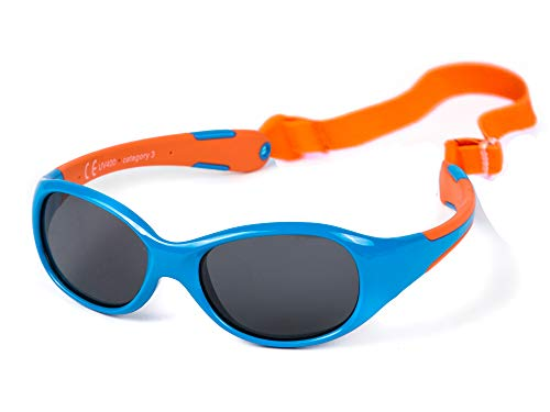 Kiddus Allroad Sonnenbrille für Baby Junge Mädchen. Alter 0 bis 24 Monate. Sicherer UV-Schutz. Verstellbares abnehmbares Band. In einem Stück gefertigt. Unzerbrechlich