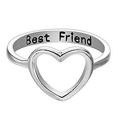 Idea Regalo - Zhuotop donne migliori amici anello semplice Hollow cuore grande anello amicizia Lettering anelli e Lega, colore: Silver, cod. 828635