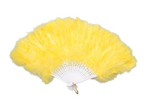 Vintage Feder Fan Flapper Dance Brüllender Gatsby Burlesque Gelb ()