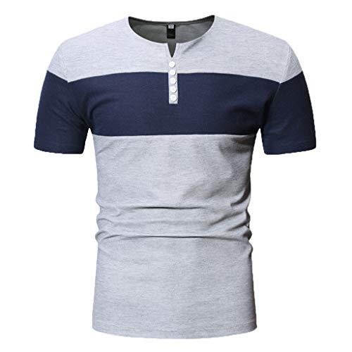 Preisvergleich Produktbild Mode Herren Kurzarm Henry Malerei Große Größe Lässige Top Bluse Shirts Herren T- Shirts Freizeit top, Schwarz Grau Marine Weiß(M L XL XXL)