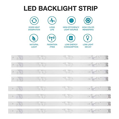 Euopat LED Hintergrundbeleuchtung Streifen 4 Lampe, für LG 42 Zoll TV 42GB6310 42LB5500 42LB550V 42LB561V 42LB570V 42LB585V 42LB5800 42LB580N 42LB5700 (8 Stück)