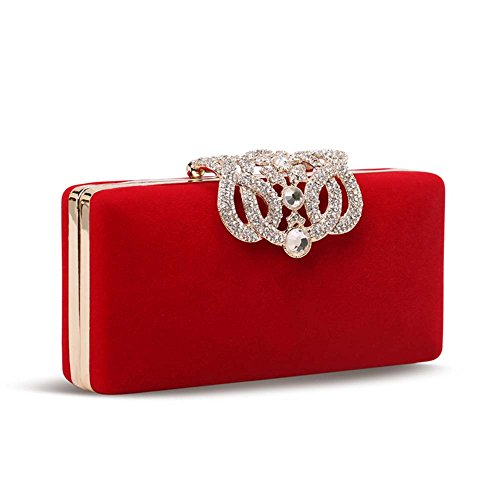 Dayiss® Luxus Damentasche Clutch Abendtasche mit Straß und Kette Metall elegant Brauttasche Party Hochzeit Bag Umhängetasche (Rot) Rot