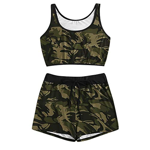 ZYUEER Damen Hosen Freizeithose Playsuit Babysuit 2 StÜCke Mode Frauen Plus GrößE Camo Print Tank Top + Kordelzug Taille Shorts Set Taille Camo