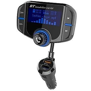 Bluetooth FM Transmitter 1,7-Zoll-Display KFZ Wireless Radio Adapter Freisprecheinrichtung Smart Dual USB-Anschlüsse Auto-ladegeräte mit Quick Charge 3.0 TF Karte Slot 3,5mm AUX-Eingang für iOS- und Android-Geräte