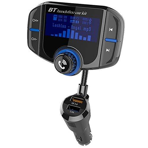 Bluetooth FM Transmitter 1,7-Zoll-Display KFZ Wireless Radio Adapter Freisprecheinrichtung Smart Dual USB-Anschlüsse mit Quick Charge 3.0 TF Karte Slot 3,5mm AUX-Eingang für iOS- und Android-Geräte
