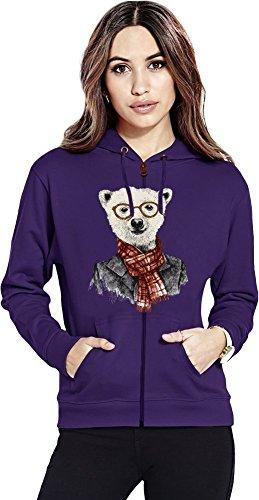 Hipster bear Womens Zipper Hoodie X-Large (Womens Hoodie Bear Zip)