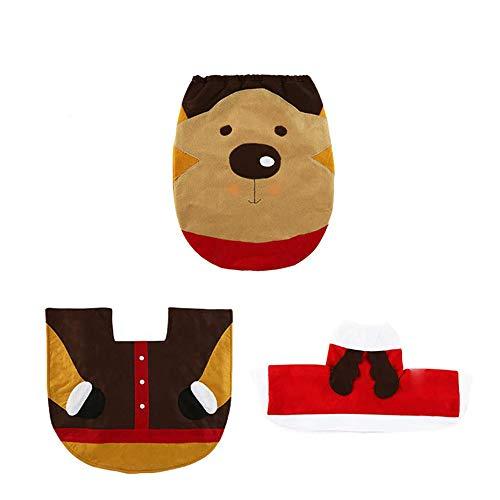 Ritte decorazioni per feste creative pupazzo di neve copriwater copertura e tappeto set per il bagno di natale decorazioni con serbatoio della scatola del tessuto elk section 3pcs