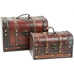 Baúl grande, madera baúl, Cofre del Tesoro, acabado antiguo, madera, varios tamaños, caja de madera, caja