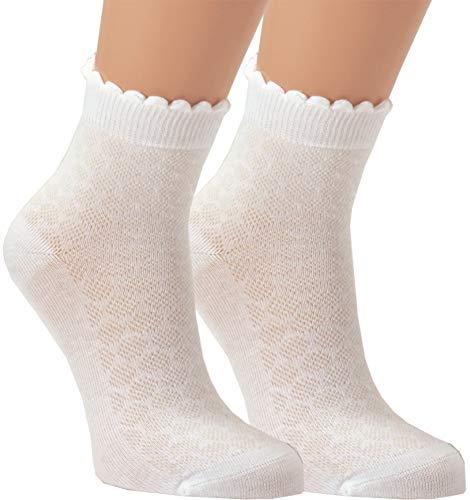 Vitasox Mädchen Kinder Socken Kindersocken Baumwollsocken Mädchensocken Filetsöckchen weiß einfarbig Wellen-Abschlußrand ohne Naht 3er, 6er Pack, 6 Paar, 31/34 -