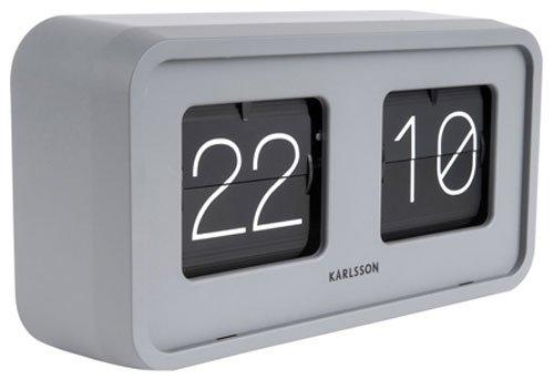 Karlsson Present Time Table Clock - Bold Flip - matt Grey - Kunststoff - 26,5 x 14,5 x 7,5cm - Excl. 2 C Batterien