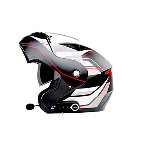 Erwachsene Bluetooth Motorradhelm Doppelobjektiv Anti-Fog Motorradhelme Motocross Helm mit FM Off-Road-Moto-Helmen Moto Bluetooth