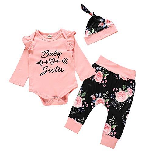 Borlai Baby Mädchen Outfits Set Baby Schwester Strampelanzug + Blumenhose & Hut Mode Rüschen Kleidung,3PCS[12-18 Monate] (Beanie Baby Kostüm Strampelanzug)