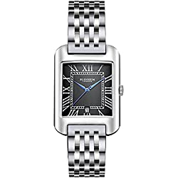 Blenheim London® B3180 Curve Watch Black Roman Numeral with Blue Hands with Stainless Steel Strap