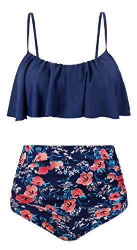 Angerella Damen Niedlich Ruffles Strap Badeanzug Crop Top Flounce Bikini Set Mehrfarbig