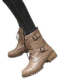 Logobeing Zapatos Mujer Botines Mujer Tacon Medio Planos Invierno Alto Botas de Mujer Casual Plataforma Nieve Ante Martin Botas de Cordones Calientes Martin Boots-59993