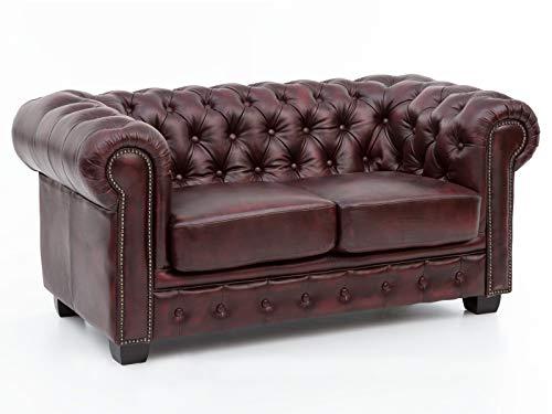 Woodkings® Chesterfield Sofa 2-Sitzer rot Echtleder Couch Bürosofa Polstermöbel 2er antik Unikat Herrenzimmer englisches Ledersofa Stilsofa