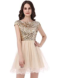 b5471bb9d3ce Sarahbridal Women A-line Short Prom Dress with Tulle Sheer Neck Strapless  Party Dresses for