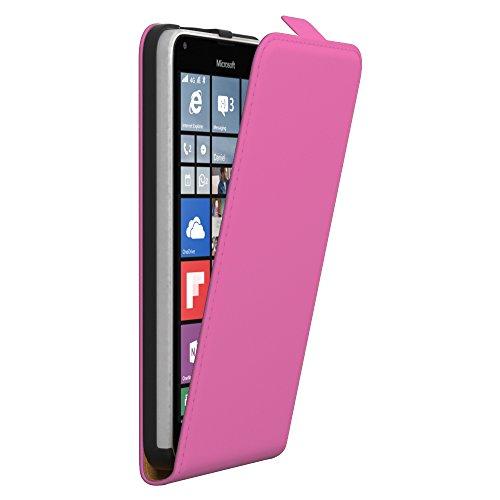PREMIUM - Flip Case für - Nokia Lumia 535 - Wallet Cover Hülle Schutzhülle Etui Tasche Schwarz Pink (Flip)