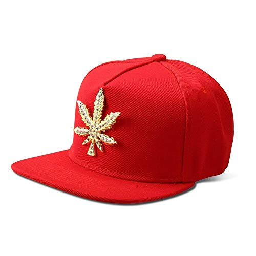 Fashion Hip Hop Style Kristall Iced Único Weed Verstellbar Leaf Out Baumwolle Baseball Cap Sports Hat (Color : Rot, Size : One Size)