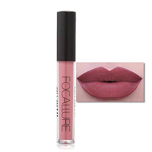 Frauen Lippen Matte Lip Gloss,Leey FOCALLURE neue Art und Weise Lippenstift Kosmetik-Partei (H)