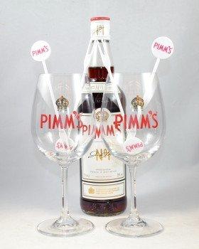 Pimm's the original No. 1 Cup 0,7l ( 25% ) + 2 Pimm's Gläser + 4 Stirrer Gabel Bar Gabel Cup Set
