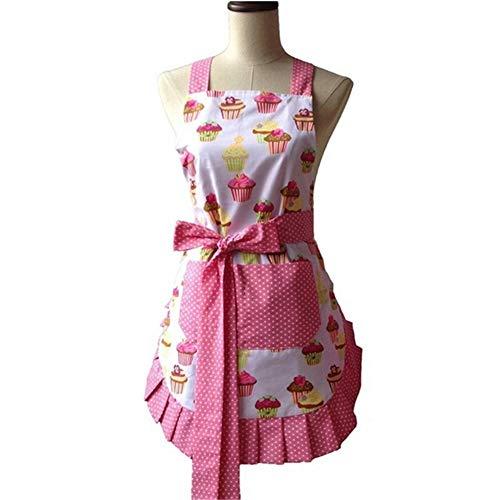 Martinad Küchenschürze Von Retro Schürze Design Cupcakes Polka Dot Rüschen Unikat Arbeitsschürze Für Frauen Und Mädchen (Color : Colour, Size : Size)