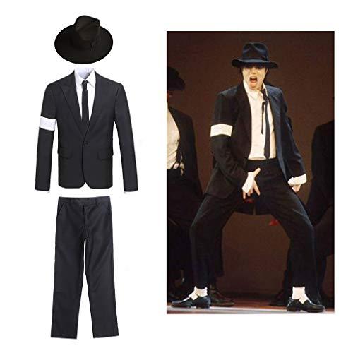 Michael Jackson Cosplay Kid Erwachsene Herren Cosplay Kostüm 4 stücke MJ Klage Jacke + Hosen + weißes Hemd + Krawatte (Michael Jackson Perücke Kostüm)