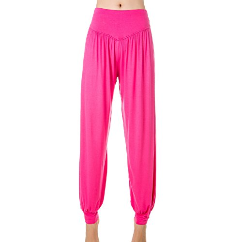 Femme Pantalons de Sport Yoga Souple 95% Modal Danse type Bloomer pants Rose Rouge
