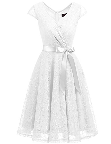 Dresstells Elegant Spitzenkleid knielang V-Ausschnitt Brautjungfernkleid Cocktailkleid Abendkleider White XL