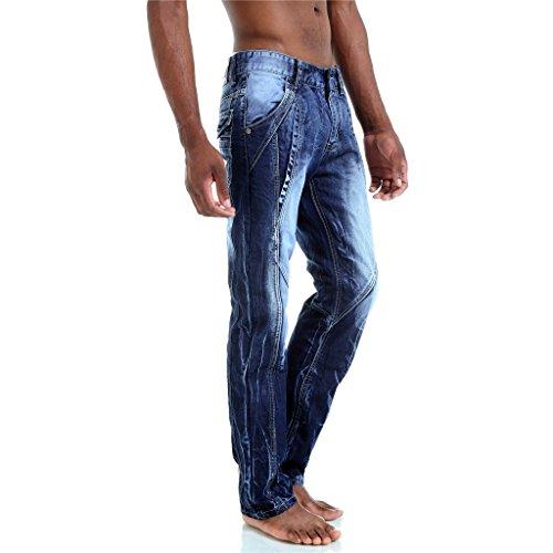 Pizoff Herren Jeans mit Hand Made Rissen in Vintage used Waschung T046