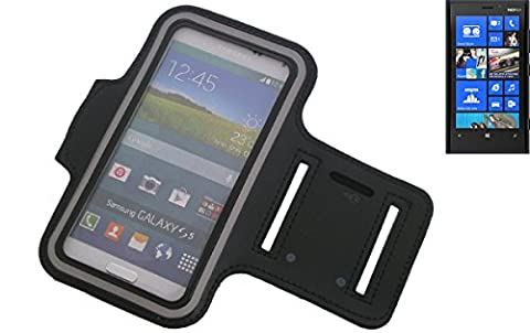 Neopren Jogging Armband Sportarmband Oberarmband für Nokia Lumia 920, schwarz mit Reflektor Streifen. Fitness Lauf Armband