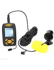 Wireless LCD Tiefe Sonar Sensor Fischfinder mit Alarm Wandler zum Angeln Transducer wiederaufladbare LED bis zu 100m