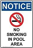 Vertikales Schild aus Aluminium, Aufschrift OSHA Notice No Smoking In Pool, Warnschild, Metall, für Grundstück/Schläuche, Dekoration, Hinweisschild/Zaunschild mit englischem Text und Symbol, Weiß