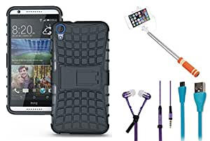 APE Shock proof back cover, monopod selfie stick, Data Cable and Zipper handsfree for HTC Desire 626
