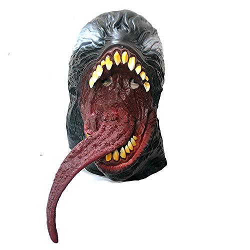 JUFENG Spider-Man-Maske Schwarz Rot Cosplay Latex Helm Halloween Kostüm Requisiten Zubehör (Farben Halloween Spider-gesicht Für)