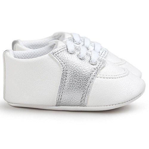 Reaso Chaussures pour 0 ~ 18 Mois Bébé Soft Sole PU cuir Antislip premières chaussures Argent
