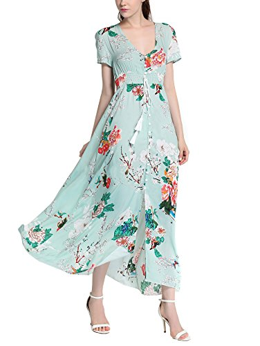 Women Dresses, Angelday Bohemian Hawaii Style Women High Waist Split Floral Print Short Sleeve Beach Sun Long Maxi Dress
